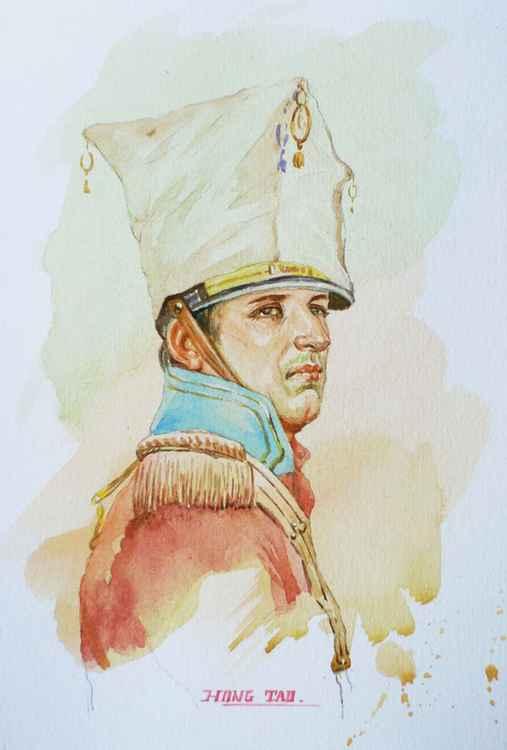 original art watercolour painting  portrait of  general on paper #16-5-10 -
