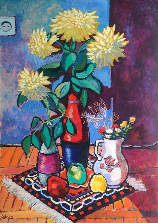 Still Life With Georginas -