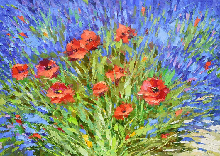 Lavender and poppies - Lavender painting, oil Poppies painting, painting on canvas, Size: 100cm x 70cm - Image 0