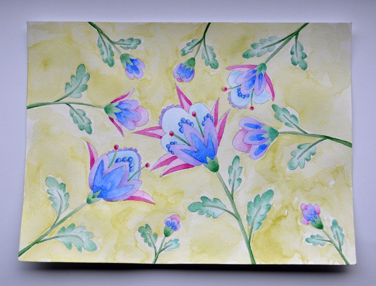 Flower pattern on olive background - Image 0
