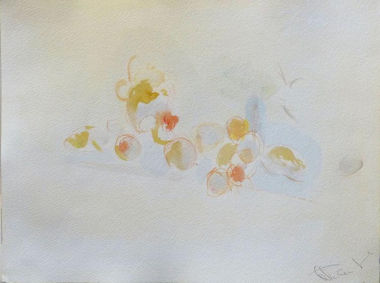 Still Life 11: Teapot and garden fruit, 29x41 cm - Image 0