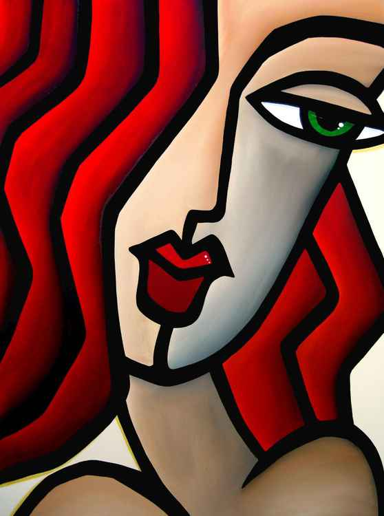 Last Glance - Original Abstract painting Modern pop Art Contemporary Portrait FACES by Fidostudio