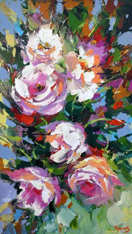 Peonies #2 by Dmitry Spiros, 2015, size 40 x 70 cm -