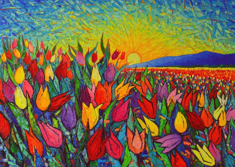 COLOURFUL TULIPS FIELD AT SUNRISE - modern impressionist palette knife oil painting - Image 0