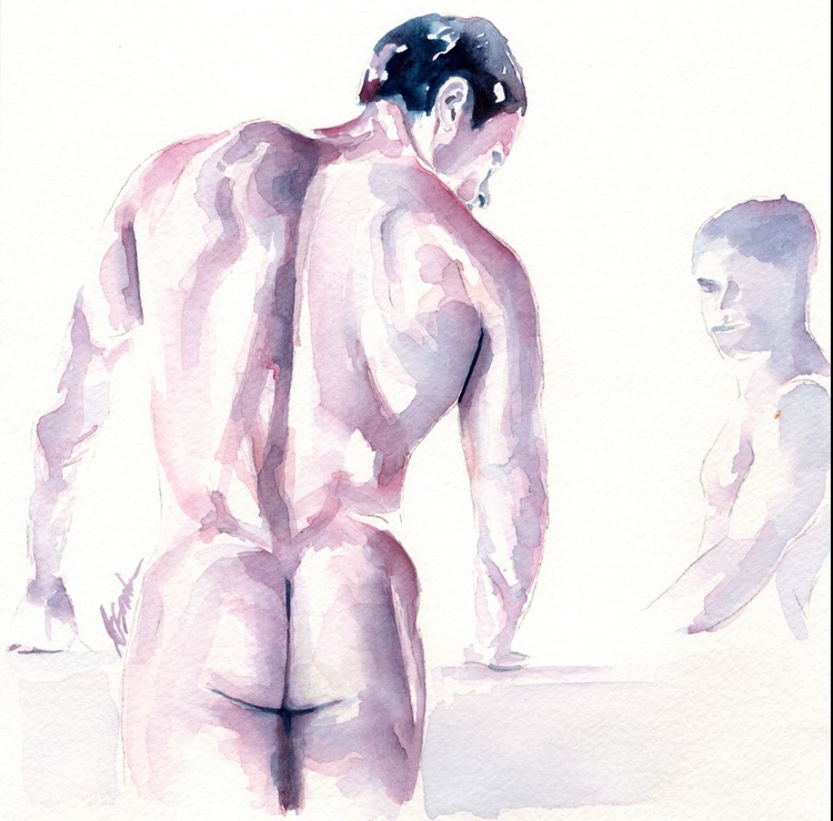 Male Nude Study with Reflection - Image 0