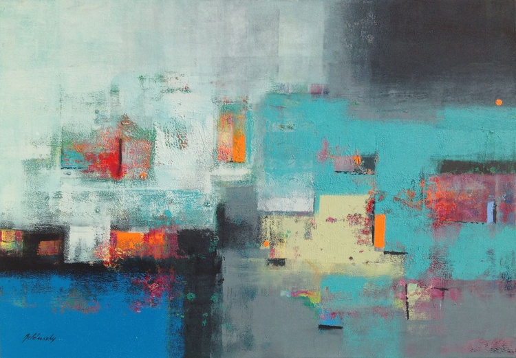 Three Little Circles - 70 x 100 cm geometric abstract in turquoise and blue - Image 0