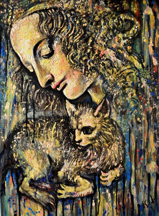 Young Woman with Cat - Image 0