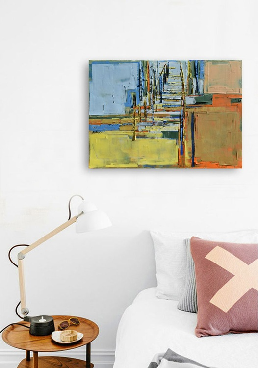 """Original, abstract oil painting """"Perspective of the city 04 """". The image is 100% authentic, oil painting on cotton canvas. 50/70 cm - Image 0"""