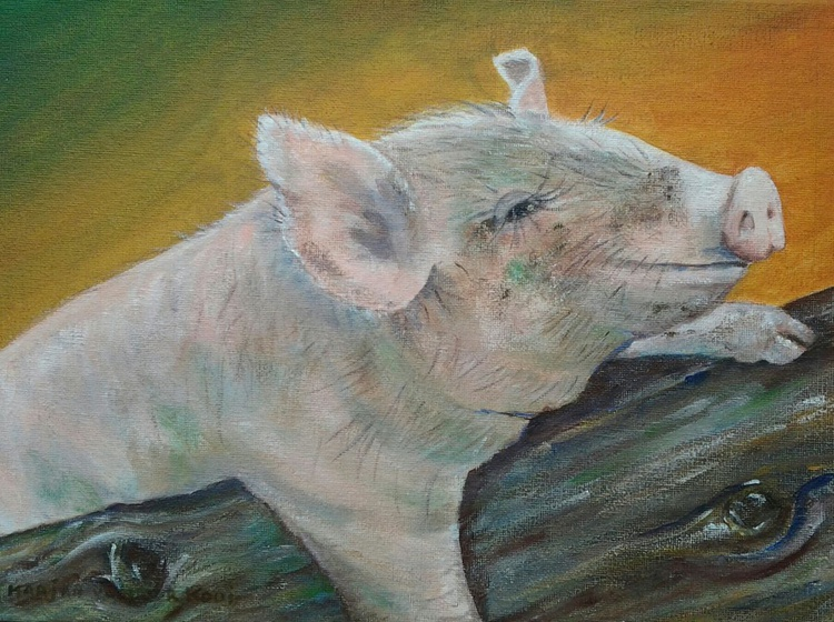 """""""THE PINK PIG"""", 12"""" × 9"""", acrylic on canvasboard - Image 0"""