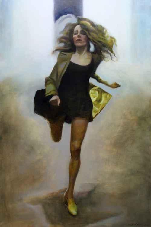 Running girl 150 x 100 cm.