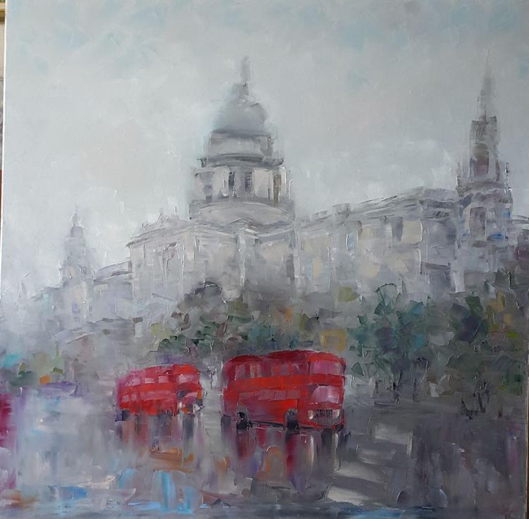 painting *Rain in London*Oil on canvas 80х80 cm - Image 0