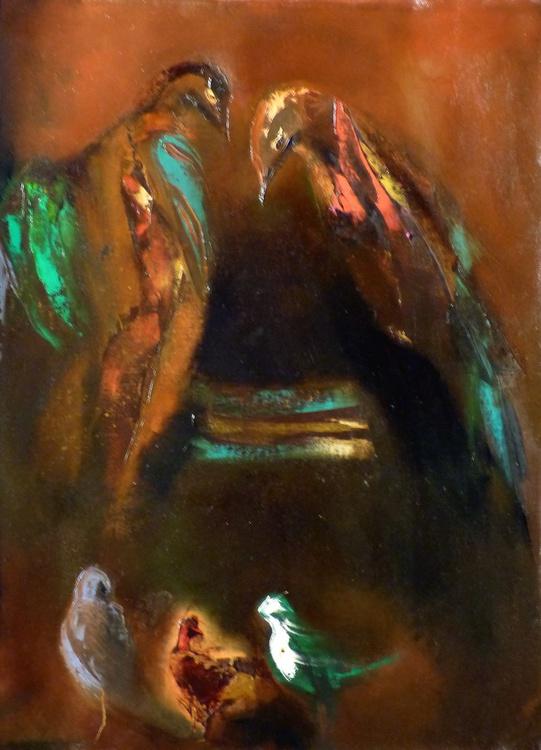 Bird feeder, oil on canvas 54x73 cm - Image 0