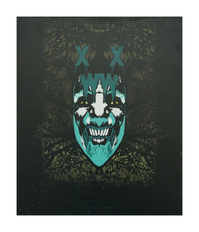 """XWWX - Sick of All Faces """"Turquoise Tribulations of Hades"""" version on canvas - Image 0"""