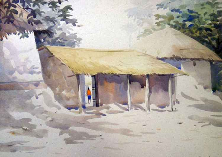 Morning Village-Watercolor on Paper Painting -
