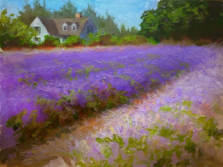 Healing Harvest - Lavender Field Landscape Plein Air Painting - Image 0