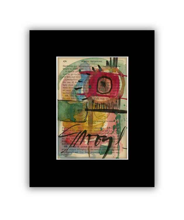 Abstract 8 on Antique Book Page - Abstract Watercolor Painting -