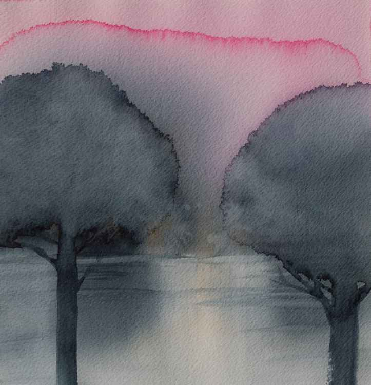 Trees, watercolor on paper, 22,5X23,5 cm -