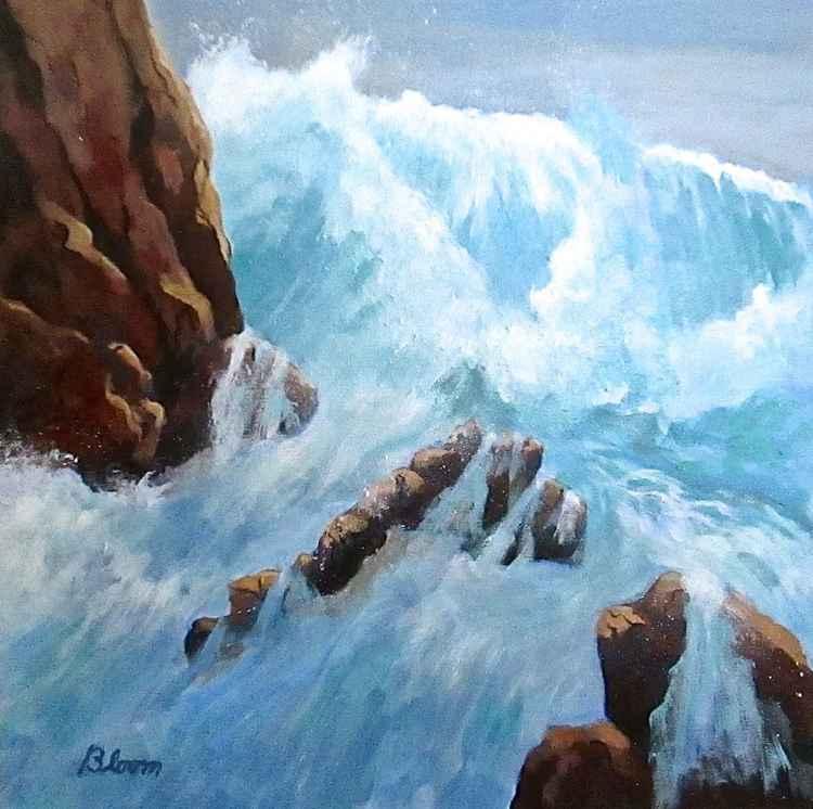 Rough Sea Pounding Shoreline Rocks