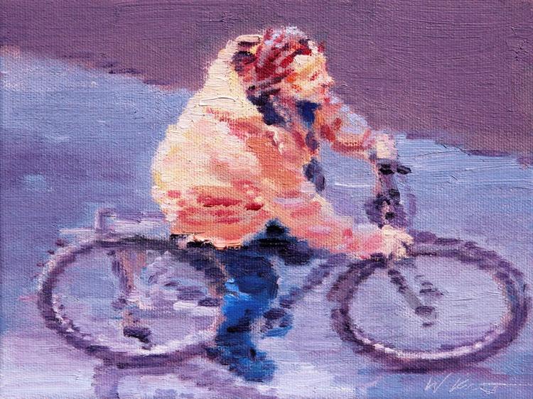 Aerial View of Parisian Man Riding Bicycle - Image 0