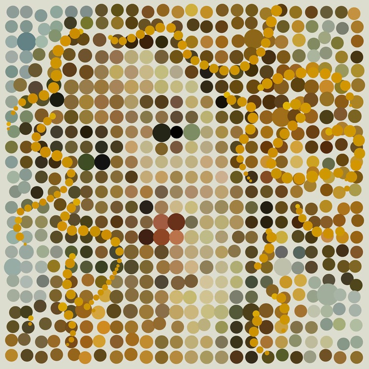 Dotticelli Venus, Digital Spot Painting, 24 inch Square Edition of only 6 - Image 0