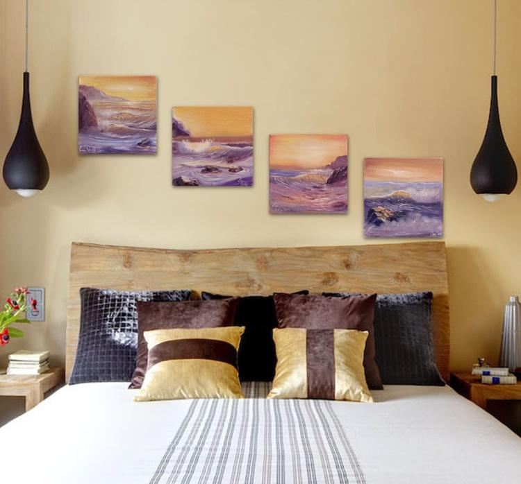 """Ocean Waves Set of 4 oil paintings 6x6"""" each - Image 0"""