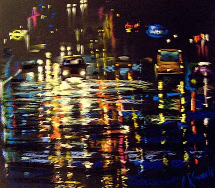 night city and  rain -
