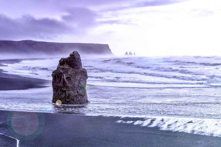 Looking towards Vik on black beach Iceland -