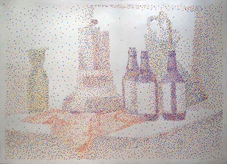 Pointillist painting with markers