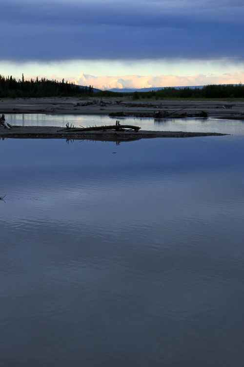 June sunrise over the Tanana River and Alaska Range -