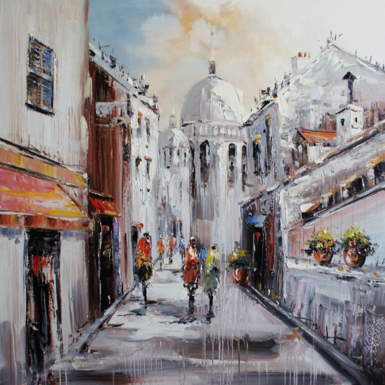 """""""Italy"""".  Free shipping. Size is 100x100 cm Oil / Canvas - Image 0"""