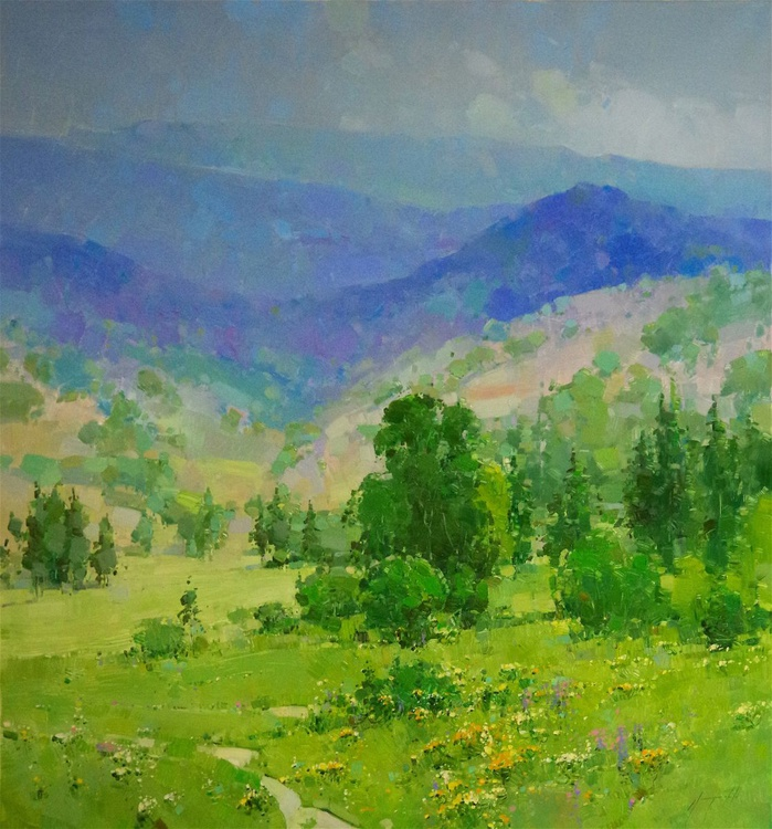 Summer Time, Landscape Original oil painting, Large Size, One of a kind Signed with Certificate of Authenticity - Image 0