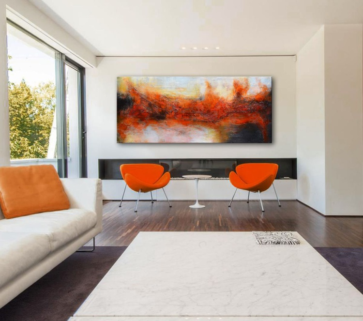 Entrance to the third dimension - mixed media red abstract painting - Image 0