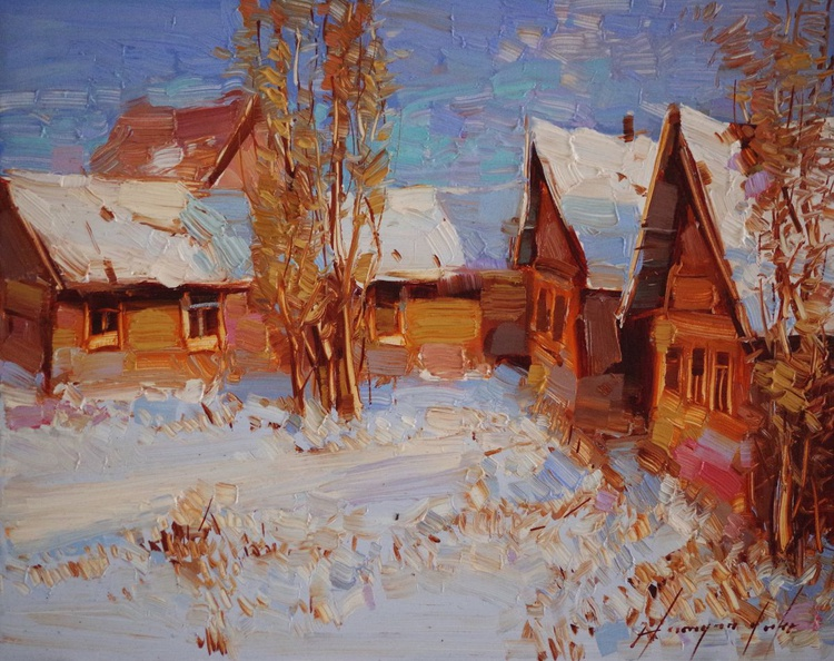 Landscape Oil painting, Village, Winter,  One of a kind, Signed with Certificate of Authenticity - Image 0
