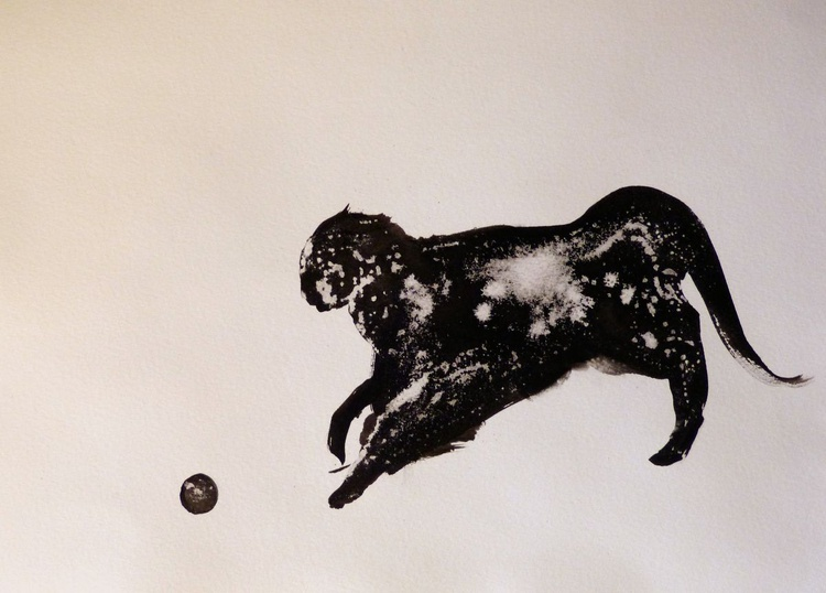 The Joyful Cat, ink drawing 29x42 cm - Image 0
