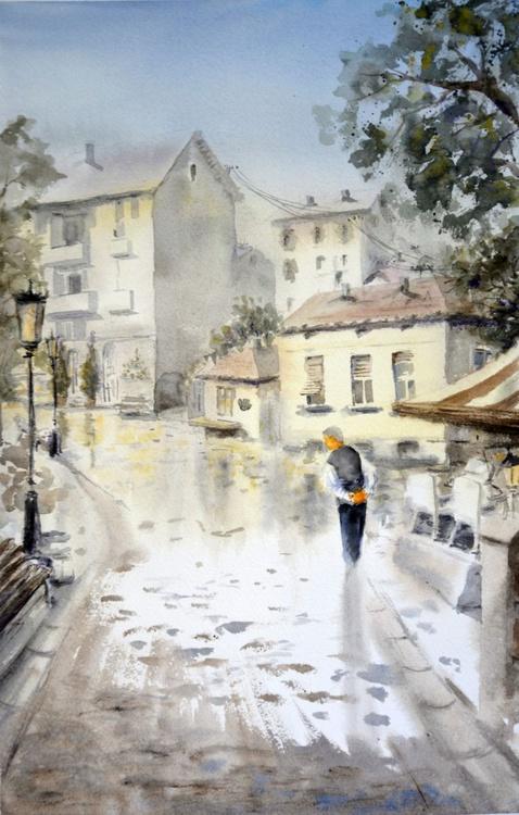 Cheer - Skadarlija, Belgrade - original watercolor landscape painting by Nenad Kojić - Image 0