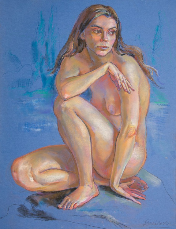 Nude girl in blue - Image 0