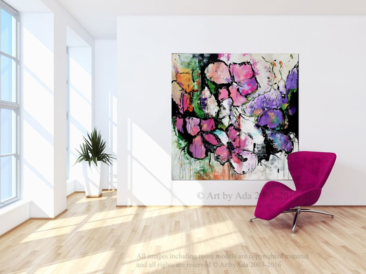 Wild Flowers-  Large abstract Handmade Painting, Floral Modern Canvas Wall Art Pink and Purple Art - Image 0