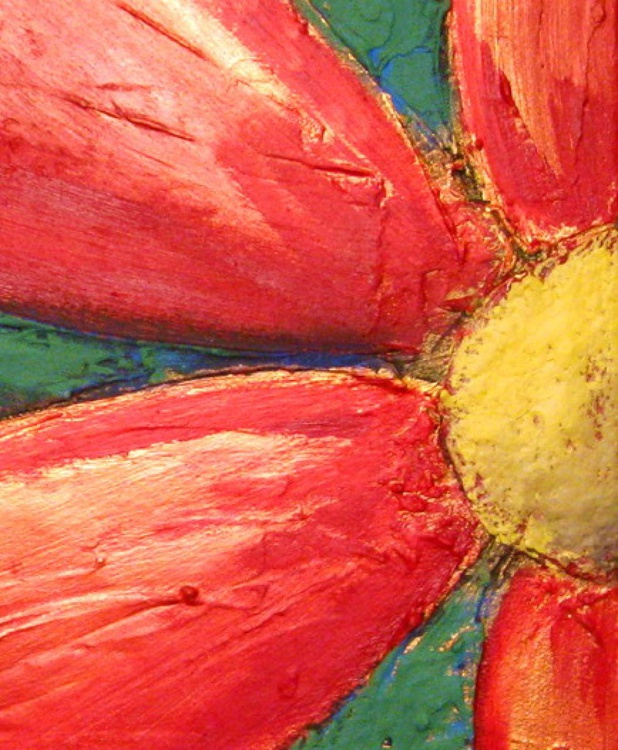 original abstract flower painting art canvas - 40 x 16 inches - Image 0