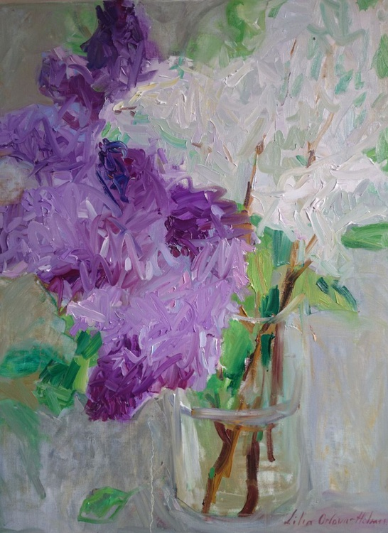 Lilac in the glass vase - Image 0