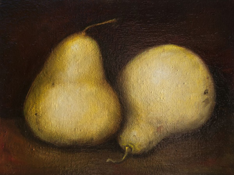 Two Pears (18x24cm) original oil painting still life realistic vintage style small gift kitchen decor - Image 0