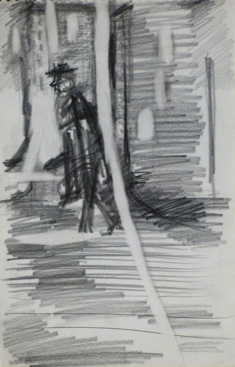 Nocturnal passer-by, pencil drawing 14x20 cm - Image 0