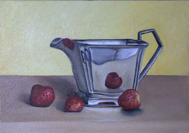 Silver Jug and Strawberries -