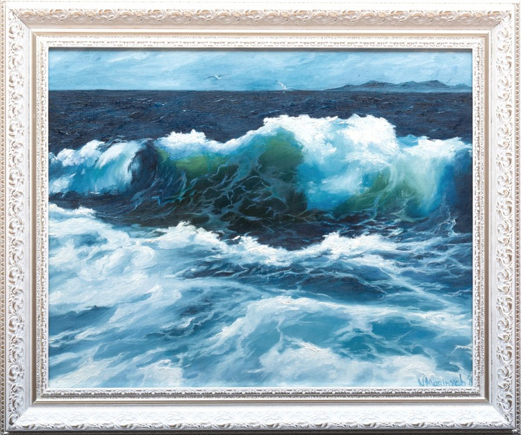 Oil painting, TULBULANT OCEAN, STORMY SEA, SEASCAPE - Image 0
