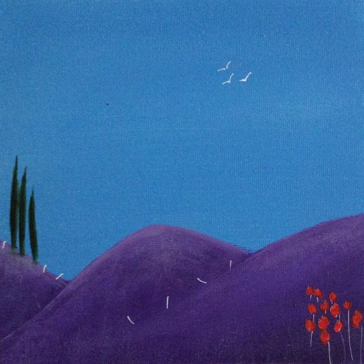 """ three purple hills "" ( miniature size) - Image 0"