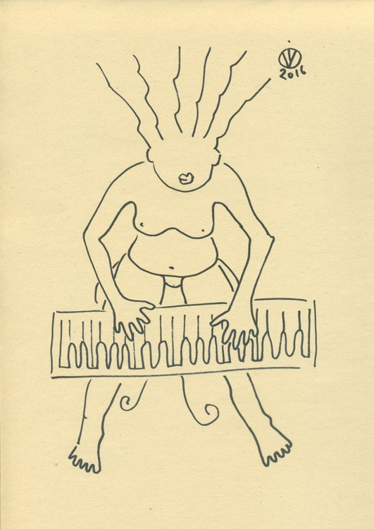 Piano Solo #2 abstract sketch drawing original hand made one line nude girl music piano - Image 0