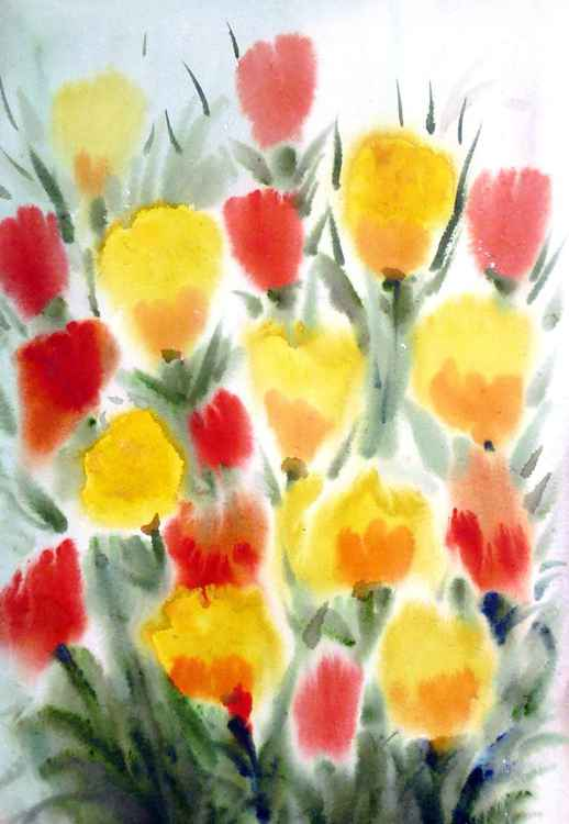 Beauty of Poppies Flowers  - Watercolor Painting -