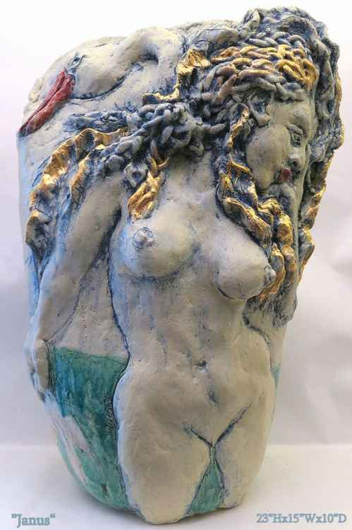 """Janus Swan Maiden""  Mythology 22K GOLD glaze"