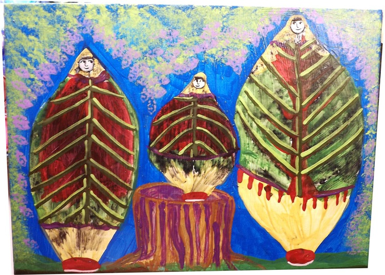 Lilac Sisters in the Lilac Bush Garden Original Painting - Image 0