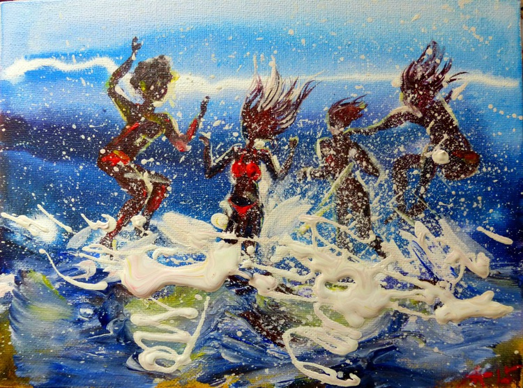 jumping into the sea, the original painting 24x18 cm - Image 0