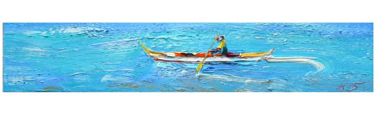 one in the boat, oil on hardboard 59x12 cm - Image 0